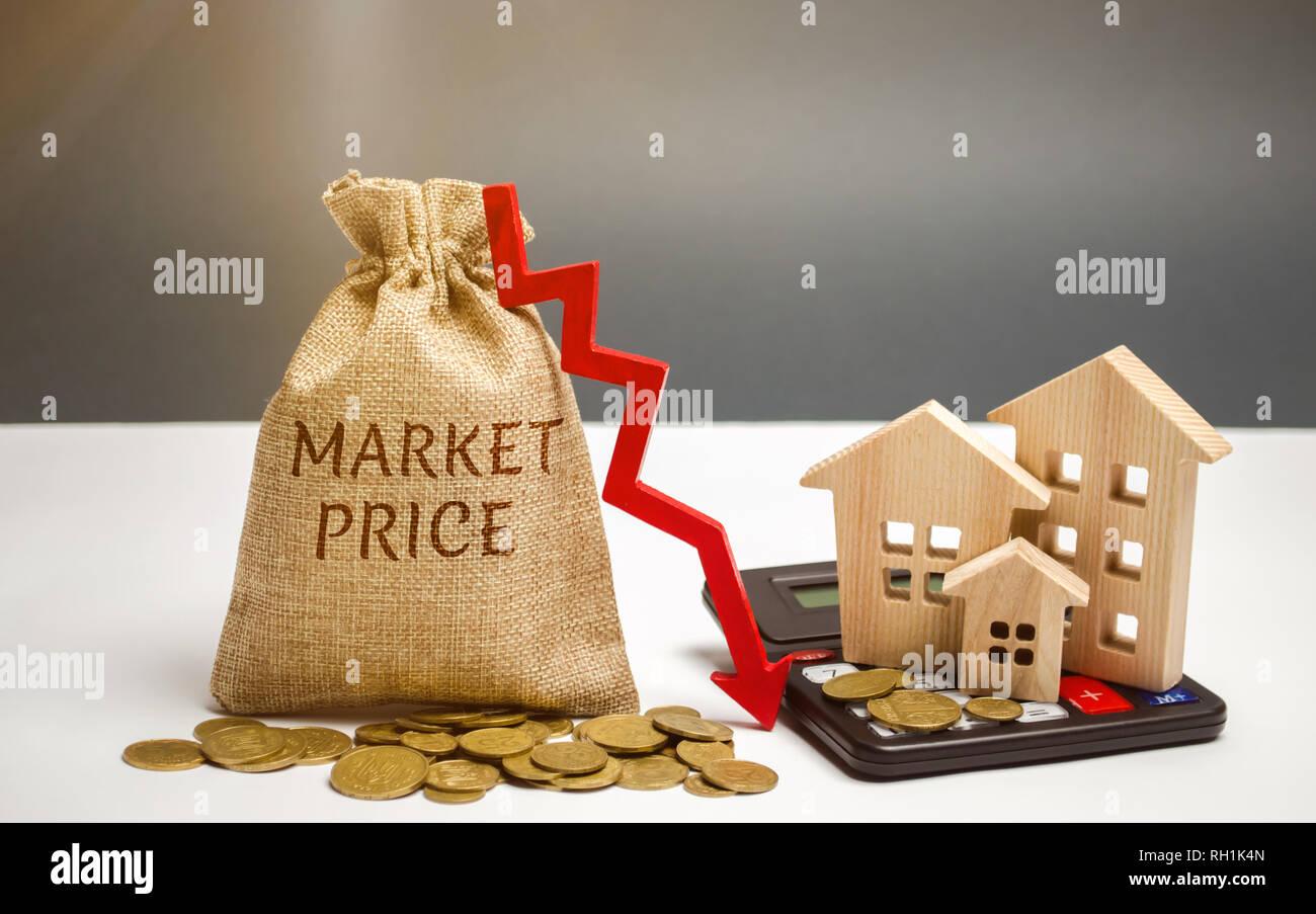 Sac de l'argent avec le mot prix du marché et une flèche vers le ...
