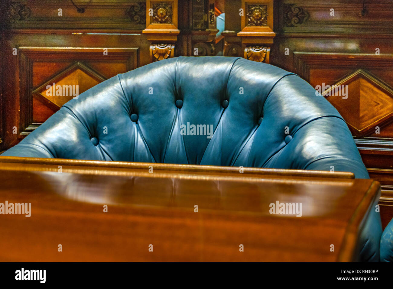 MONTEVIDEO, URUGUAY, octobre - 2018 - chambre vide de sénateurs au palais législatif de l'uruguay. Photo Stock