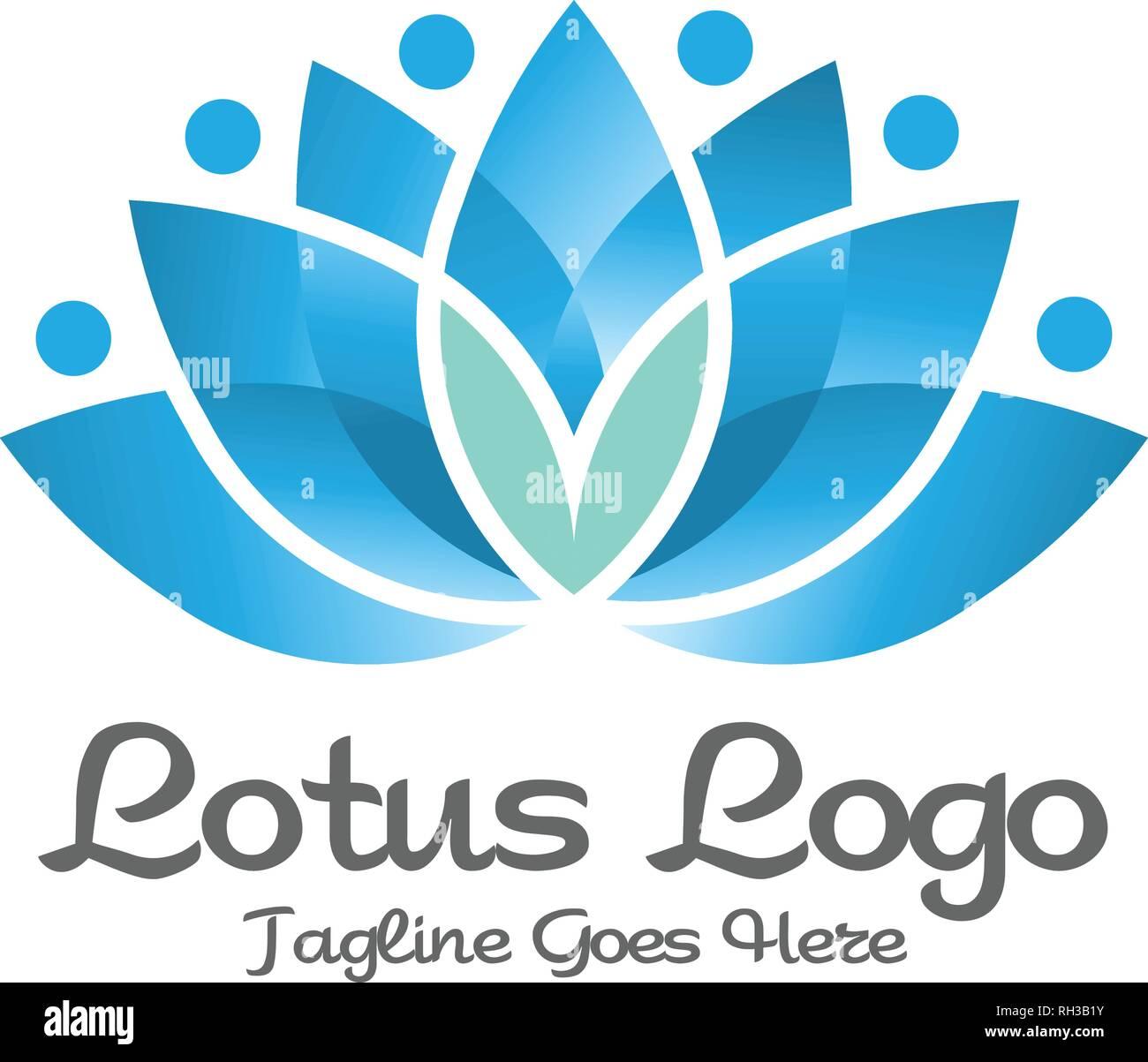 logo fleur de lotus l gant yoga spa et bien tre. Black Bedroom Furniture Sets. Home Design Ideas
