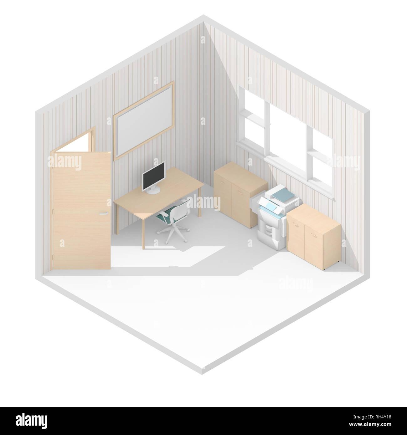 Le rendu 3D isométrique illustration de brown bureau meublé Banque D'Images