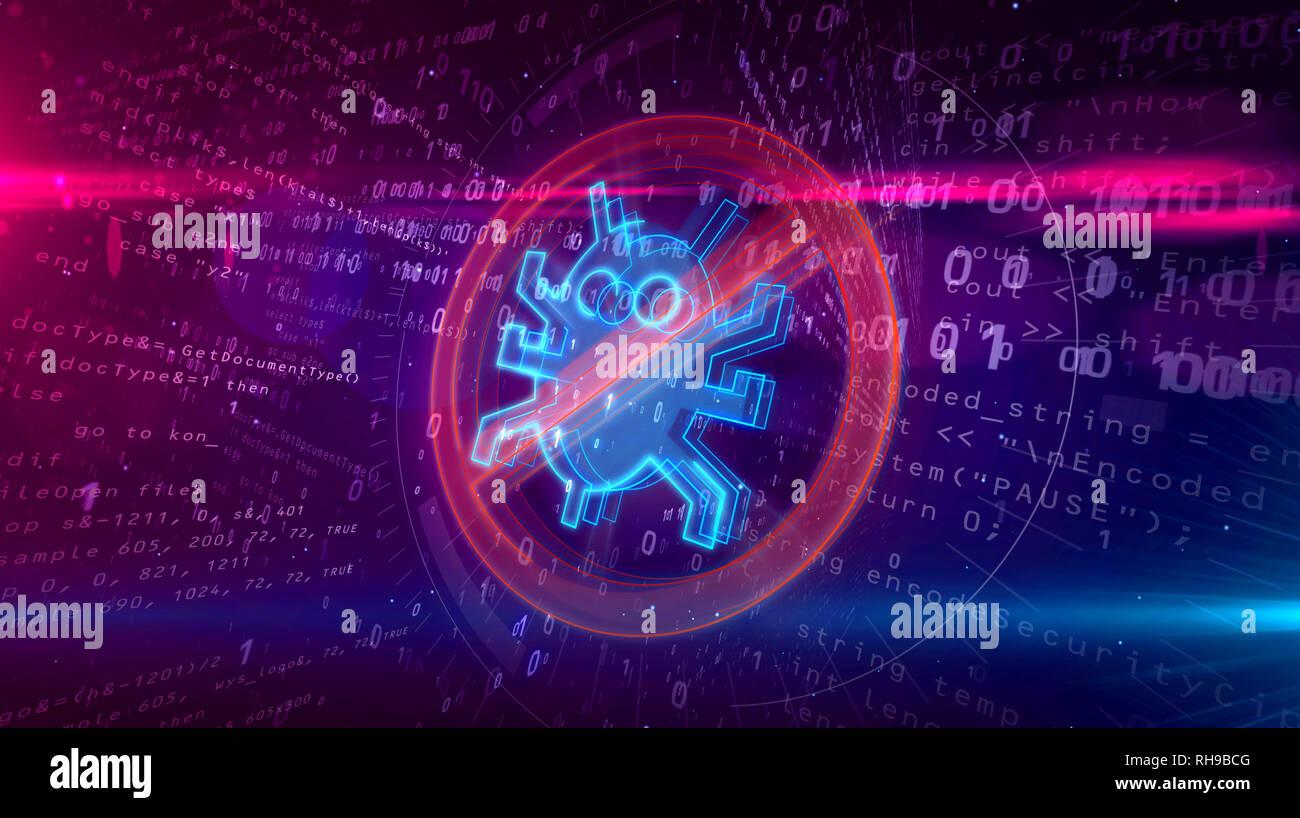 Icône de l'Antivirus sur arrière-plan numérique. Symbole d'interdiction vers Internet sur binaire abstract 3D illustration. Banque D'Images