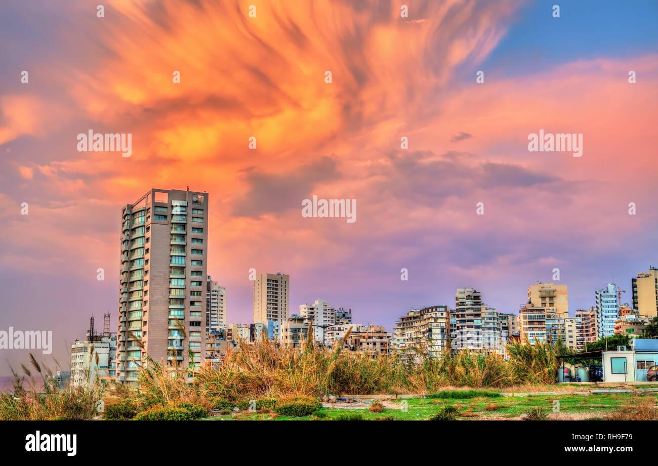 Coucher du soleil à Beyrouth au Liban Photo Stock