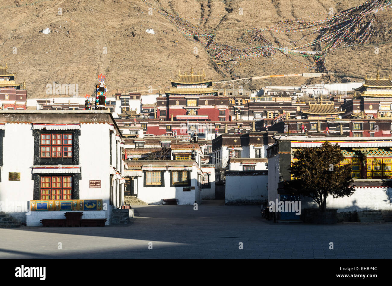 Le monastère de Tashi Lhunpo, Shigatse, Tibet Photo Stock