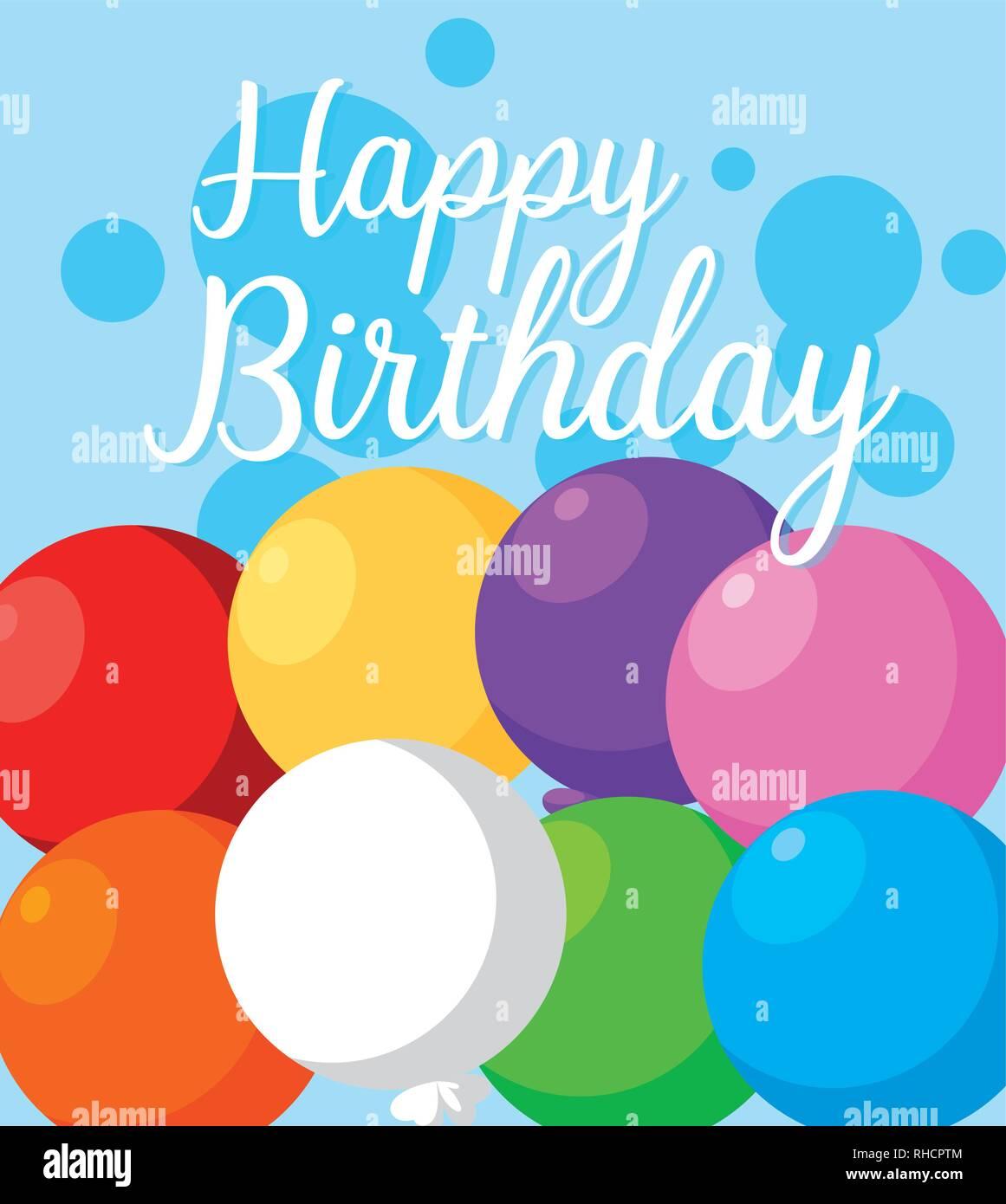 Joyeux Anniversaire Carte Avec De L Helium Ballons Vector