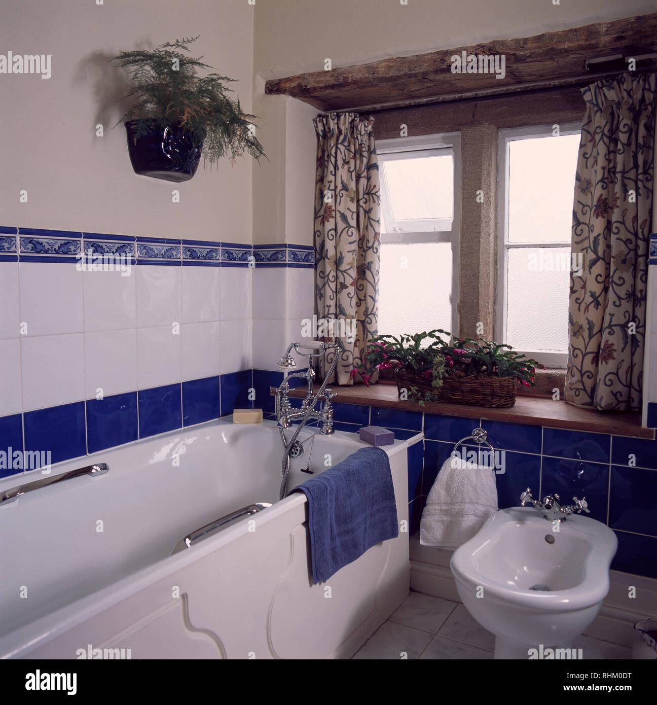 Bidet baignoire à côté de cottage salle de bains avec carrelage bleu ...
