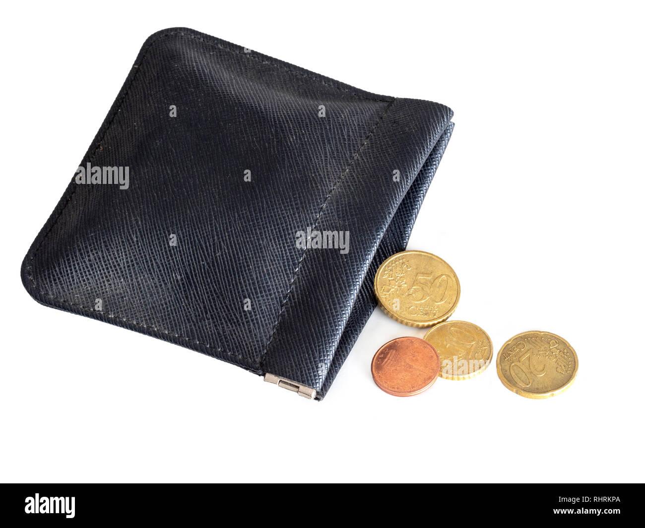 Sac presque vide, à court d'argent, d'euros. La crise financière, bancaire, l'Union européenne, l'Europe, l'Italie etc ou la pauvreté dans l'Union européenne. Concept, métaphore. Photo Stock
