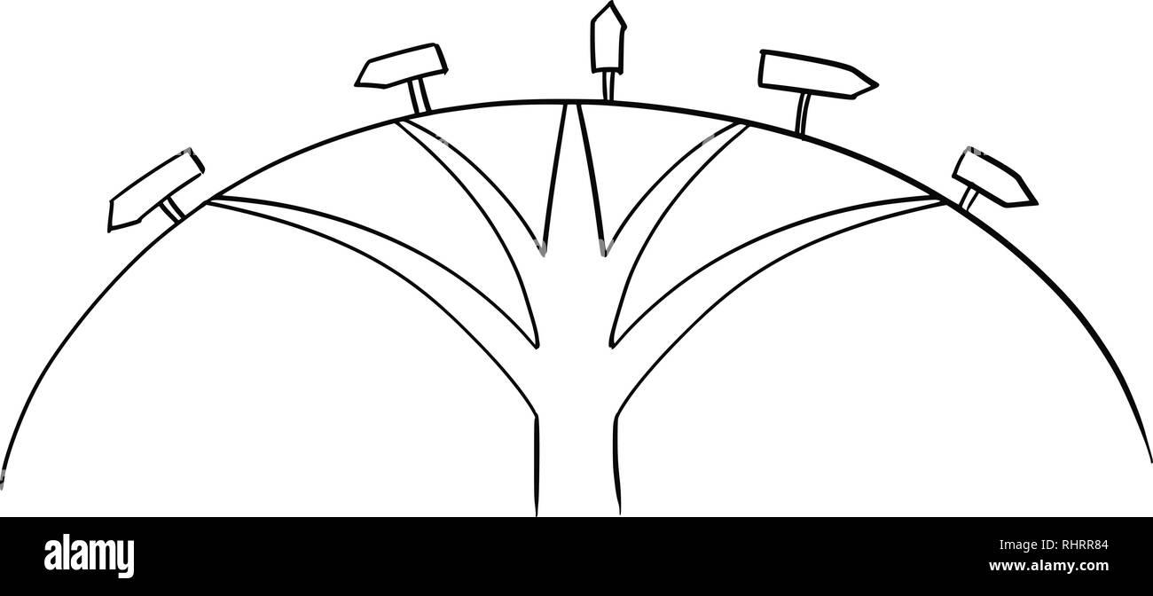 Dessin de cinq façons Carrefour et flèches directionnelles Photo Stock
