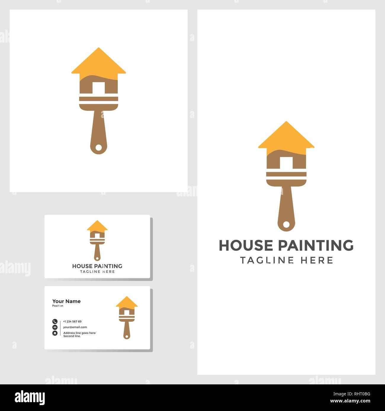 Peinture Maison Modele Avec Logo Design Carte De Visite Immersive Vector