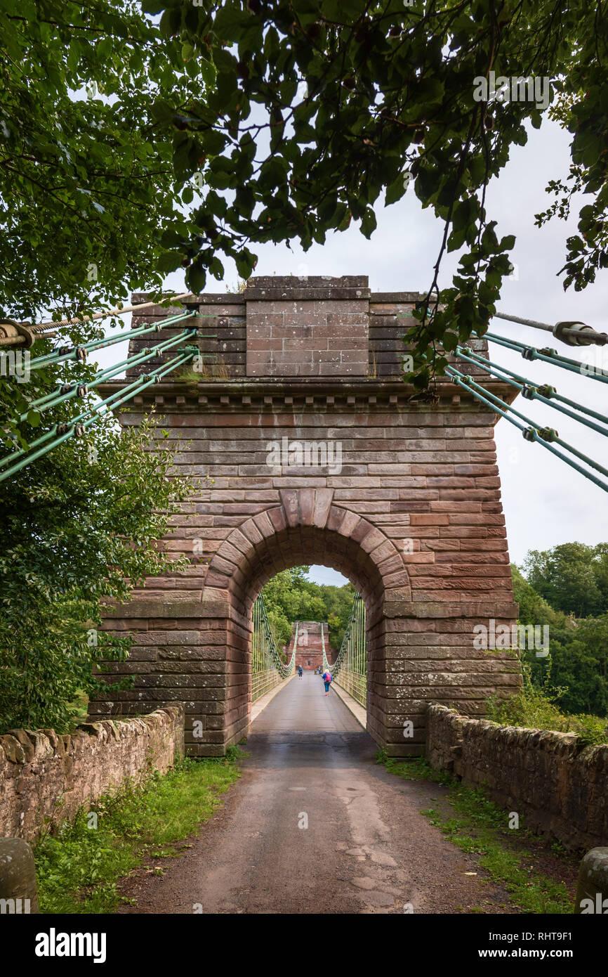 Chaîne d'Union Bridge, Northumberland, Angleterre Photo Stock