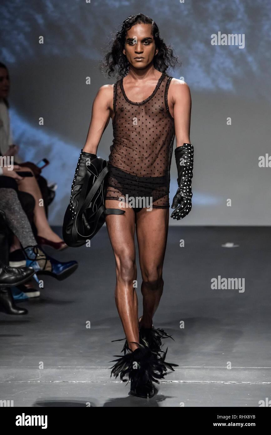 New York, USA. Le 04 février, 2019. 4e février 2019 - New York, USA - Palomo Espagne Automne Hiver 2019 piste à New York Fashion Week Mens . Crédit photo: Rudy k/Alamy Live News Photo Stock