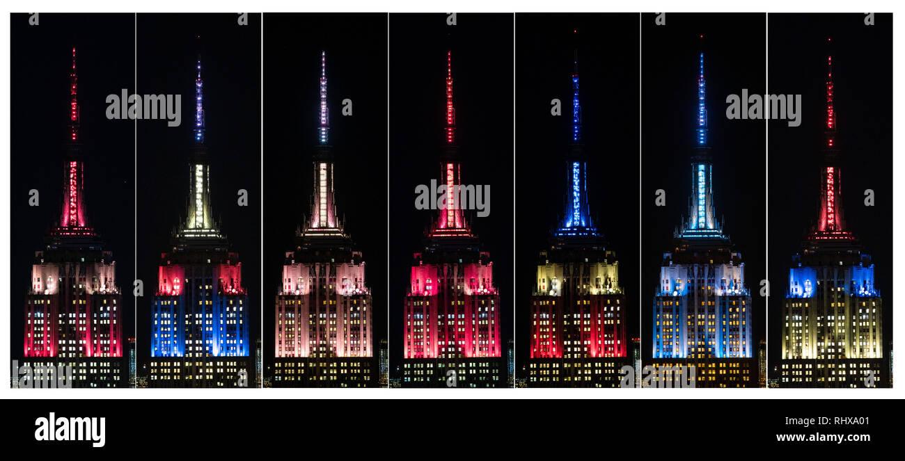 New York, USA. Feb, 2019 4. Photo Combo montre le haut de l'Empire State Building est allumé en feux spéciaux conçus pour Nouvel An chinois à New York, États-Unis, 4 février 2019. L'Empire State Building à Manhattan, resplendira en rouge, bleu et jaune sur son sommet le lundi et mardi soir, à l'honneur le festival le plus important dans la culture chinoise pour la 19e année consécutive. Credit: Wang Ying/Xinhua/Alamy Live News Photo Stock