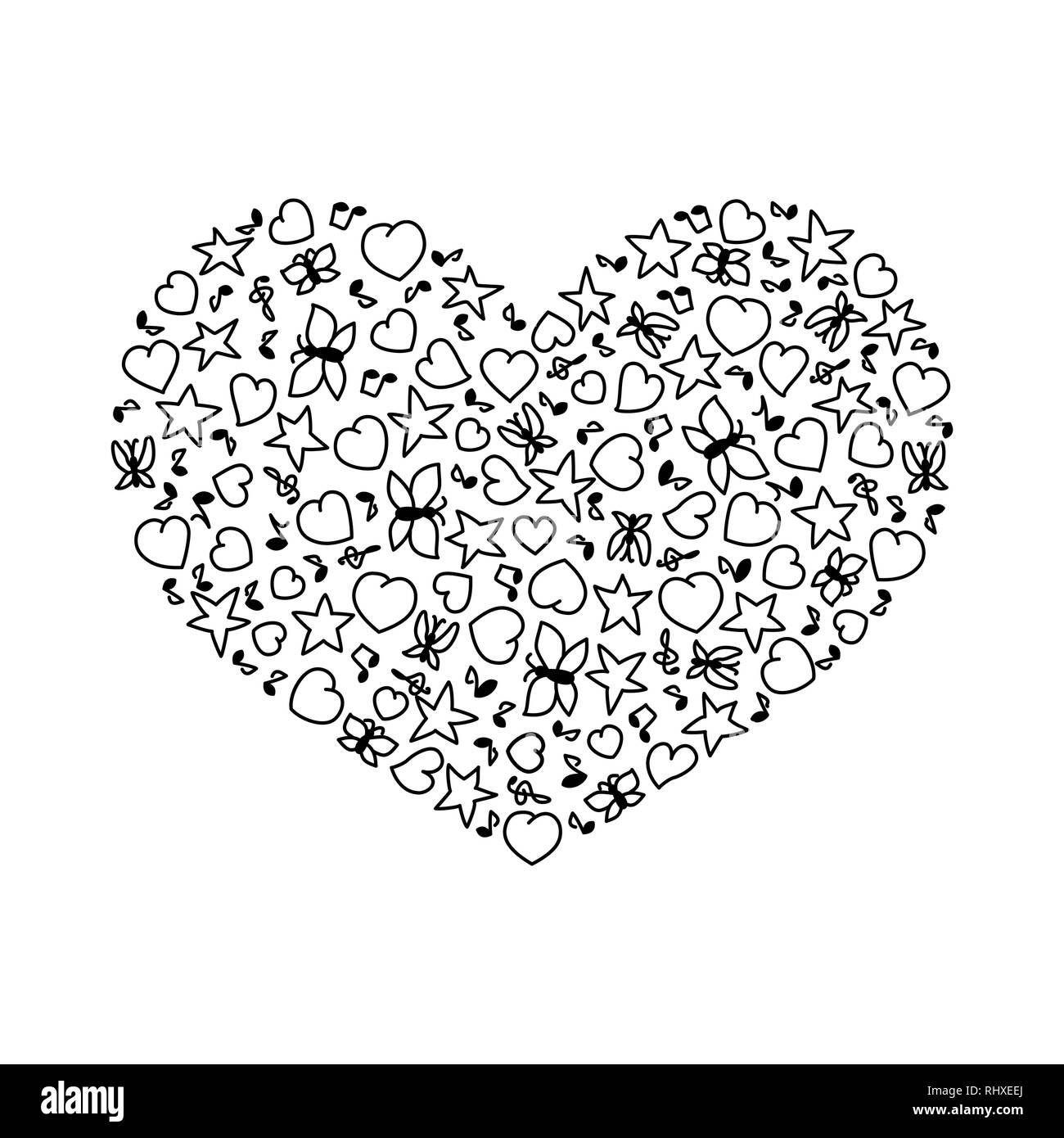 Coloriage Etoile Coeur.Cartoon Vector Illustration De Coeur De Coeur Des Notes