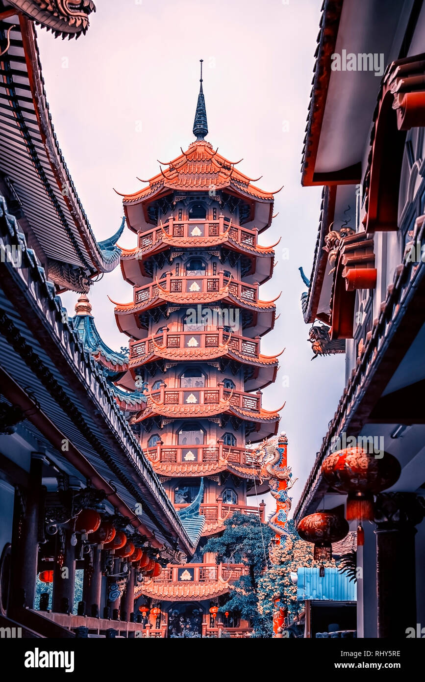 Che Chin Khor styple chinois temple et pagode à Bangkok, Thaïlande Banque D'Images