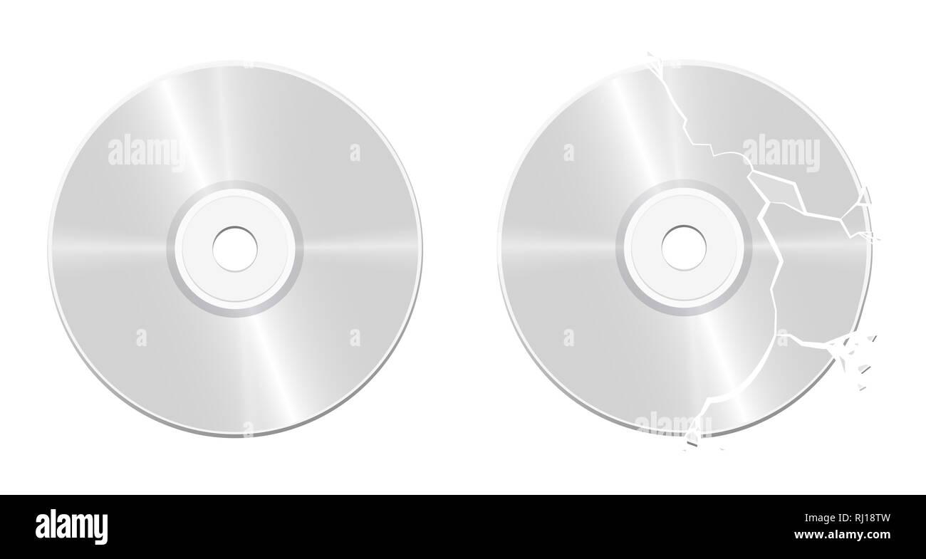 Disque compact cassé intacts - illustration sur fond blanc. Photo Stock