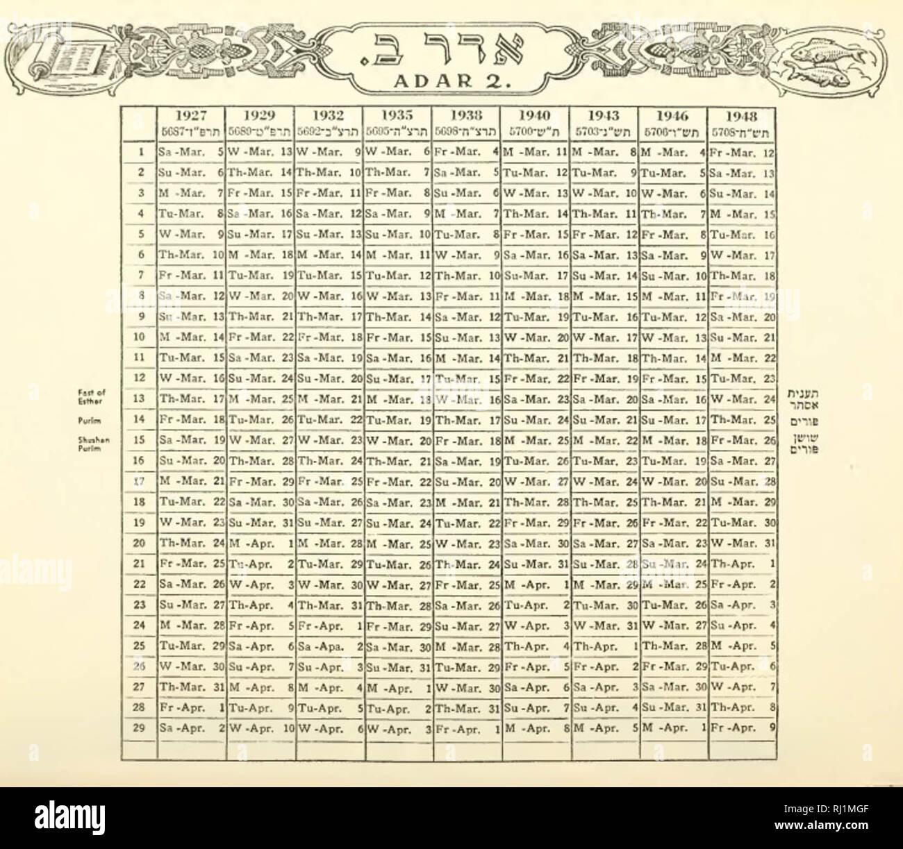 Calendrier Hebreu.Calendrier Juif Photos Calendrier Juif Images Alamy