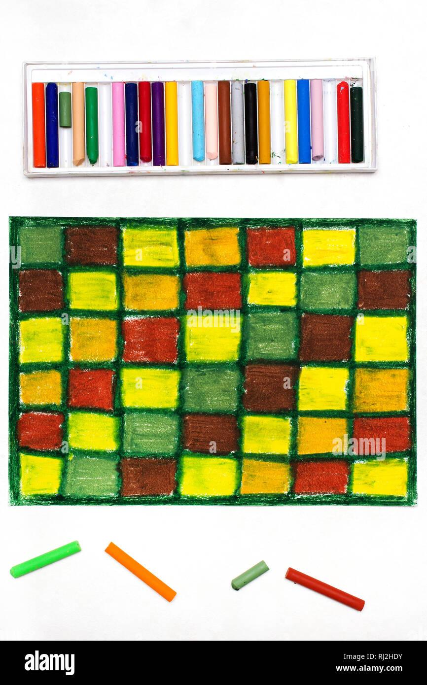 Dessin à Carreaux Coloréspastels à Lhuile Dimensions Avec