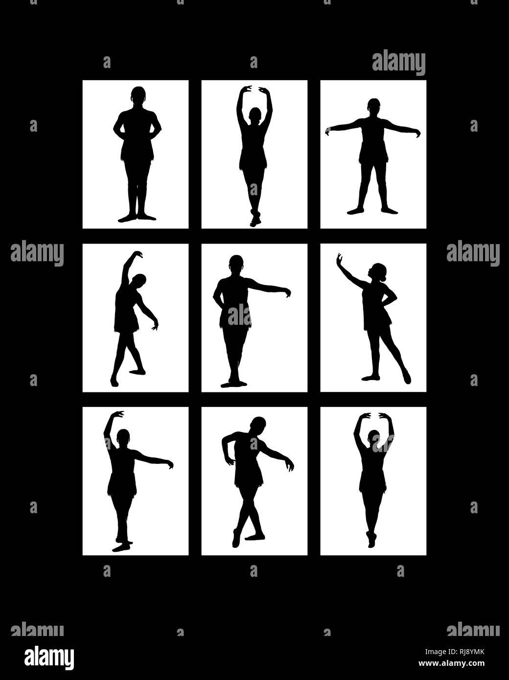 Neuf des images dans l'image - silhouette noire de jeunes femmes de l'adolescence sur fond blanc dans diverses poses de ballet classique et contemporain - pré pointe dans Photo Stock