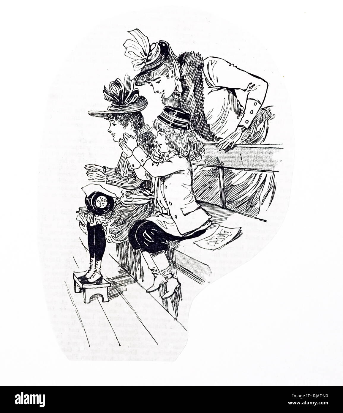 Une gravure représentant des enfants français au cirque, l'un des animations traditionnelles pour Noël. Illustré par Ethel Mars (1876-1959) une estampe de l'artiste et illustrateur de livres pour enfants. En date du 19e siècle Photo Stock