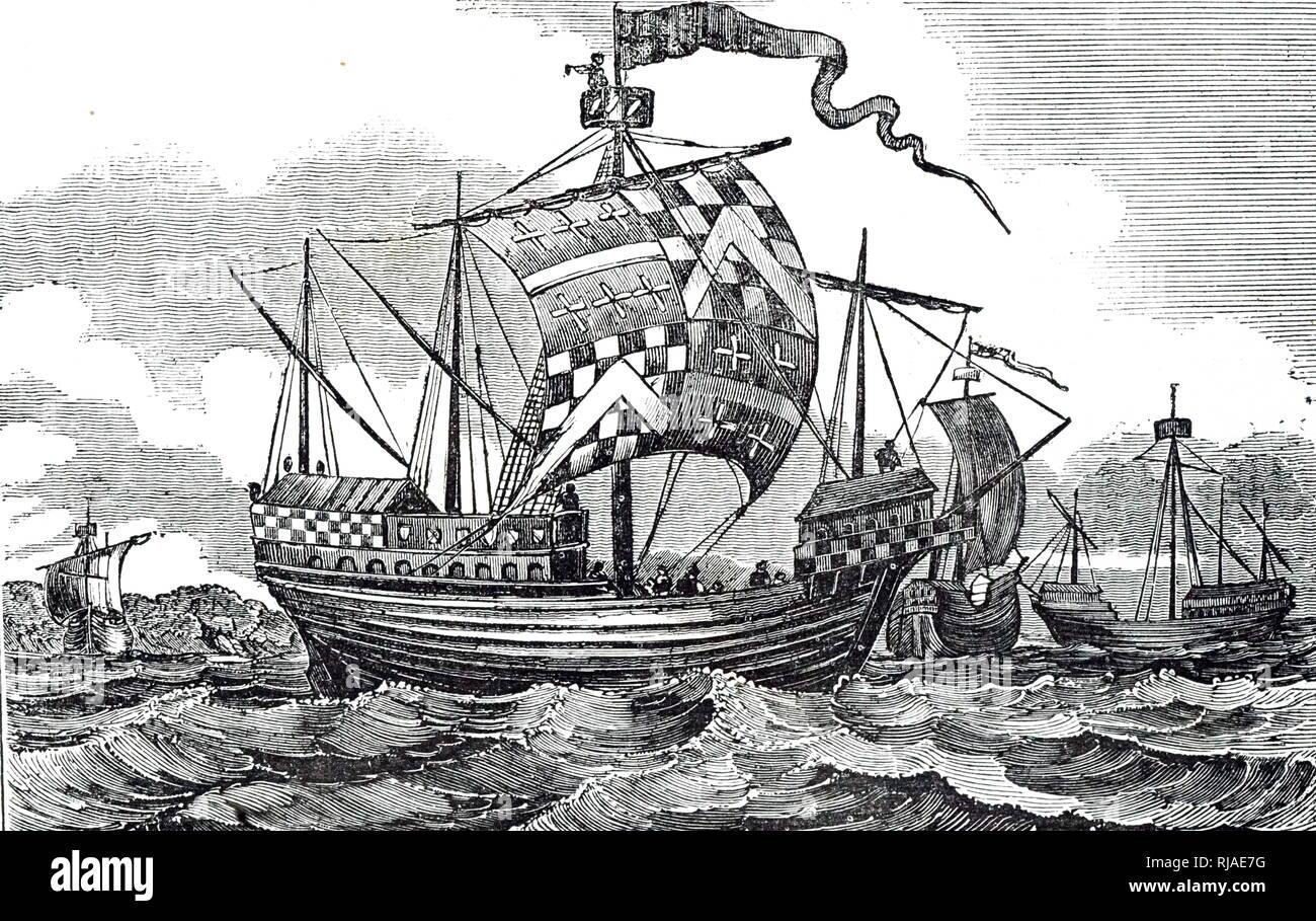 Illustration montrant une quinzième siècle de guerre anglais. 1834 Banque D'Images