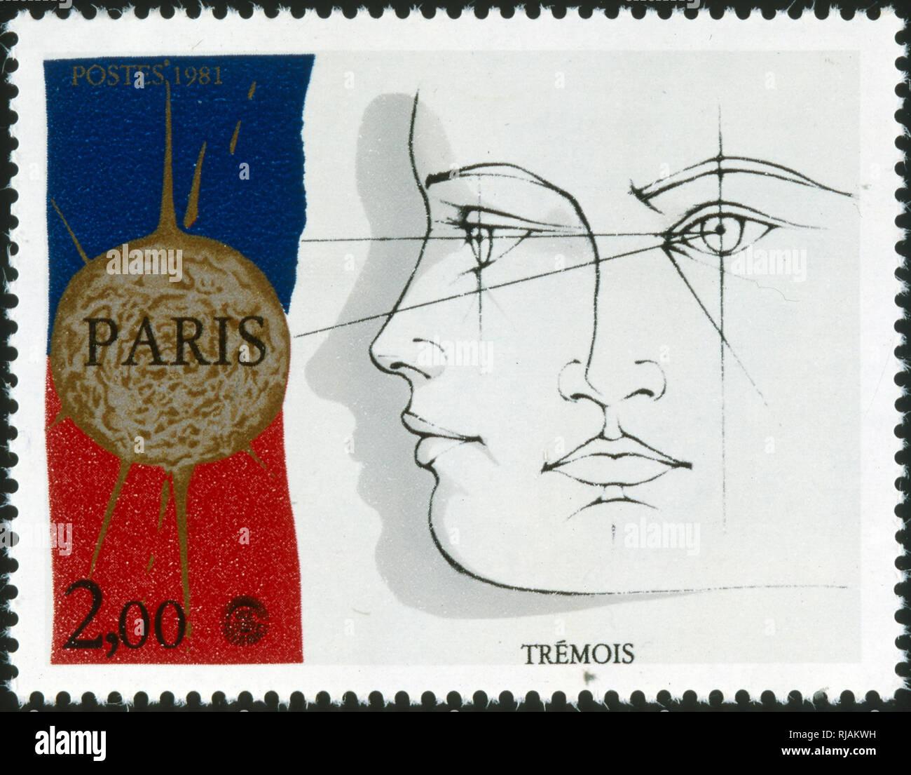 Timbre-poste commémorant français Pierre-Yves Tremois (né le 8 janvier 1921 à Paris), un sculpteur et artiste plasticien français. Il est connu pour les œuvres évocatrices dessin dans des proportions égales sur le surréalisme et la science illustration Photo Stock