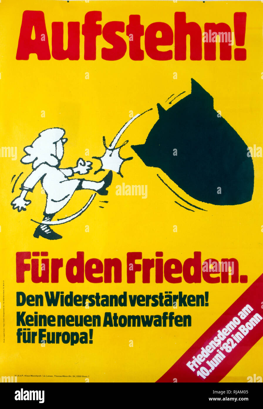 Aufstehn fur den frieden', s'engager pour la paix. Mouvement de la paix de Berlin ouest, anti-guerre nucléaire, affiche, 1980-1985. Photo Stock