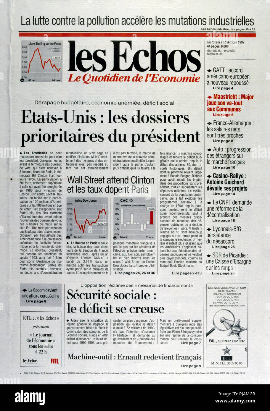 "Titre dans le journal français ""Les Echos"" concernant les priorités économiques pour le président entrant après l'élection présidentielle américaine de novembre 1992. Le Président sortant, George Bush a perdu contre le gouverneur Bill Clinton. Photo Stock"