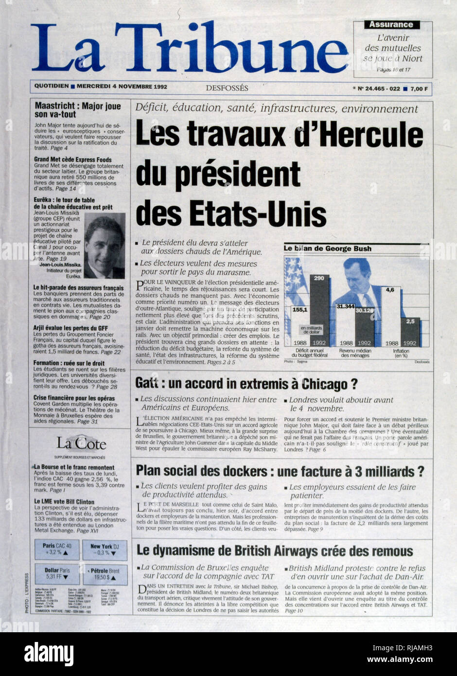 Titre dans le journal français 'La tribune' concernant les priorités économiques pour le président entrant après l'élection présidentielle américaine de novembre 1992. Le Président sortant, George Bush a perdu contre le gouverneur Bill Clinton. Photo Stock