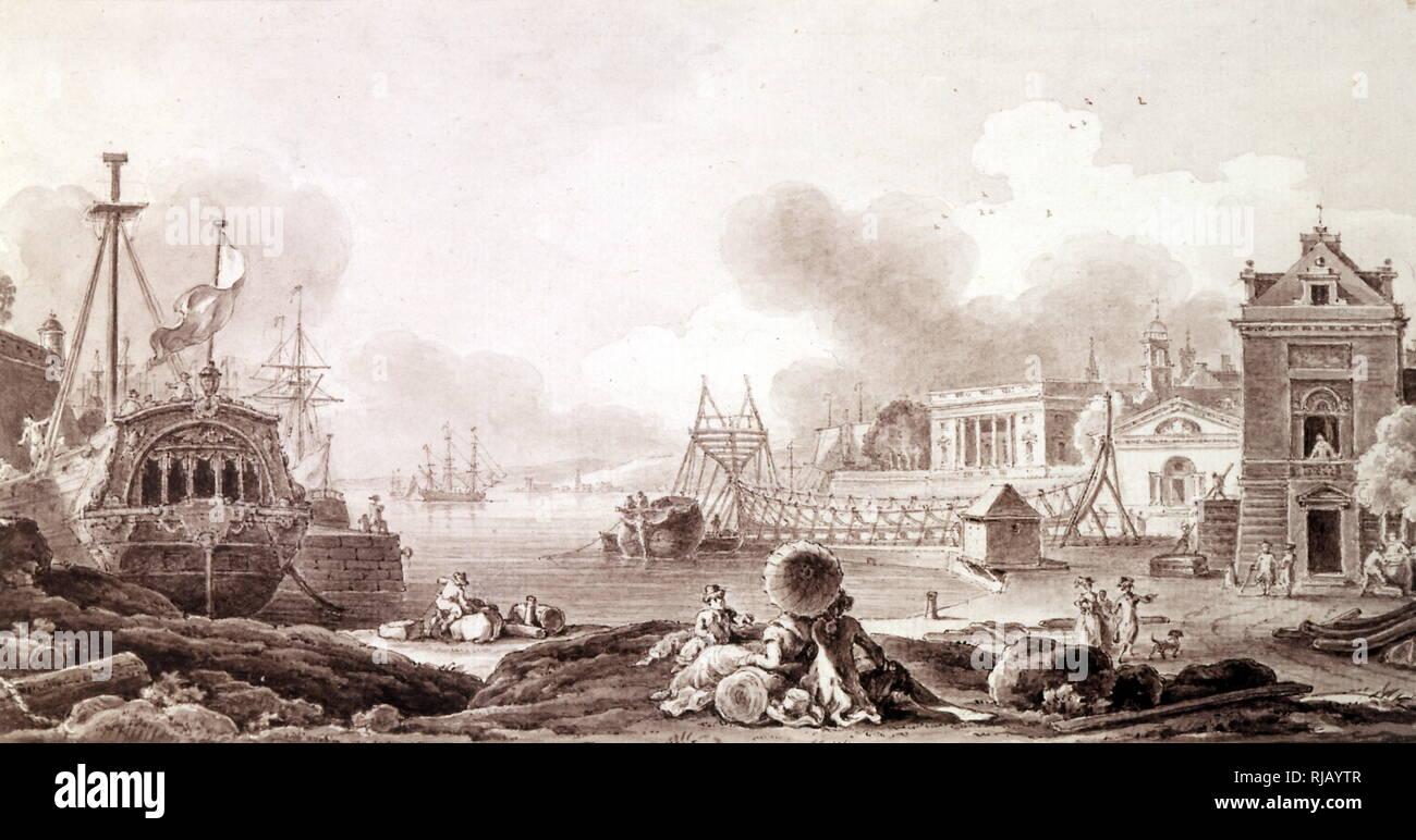 Illustration d'un chantier naval français avec un navire en construction.  18e siècle Photo Stock - Alamy