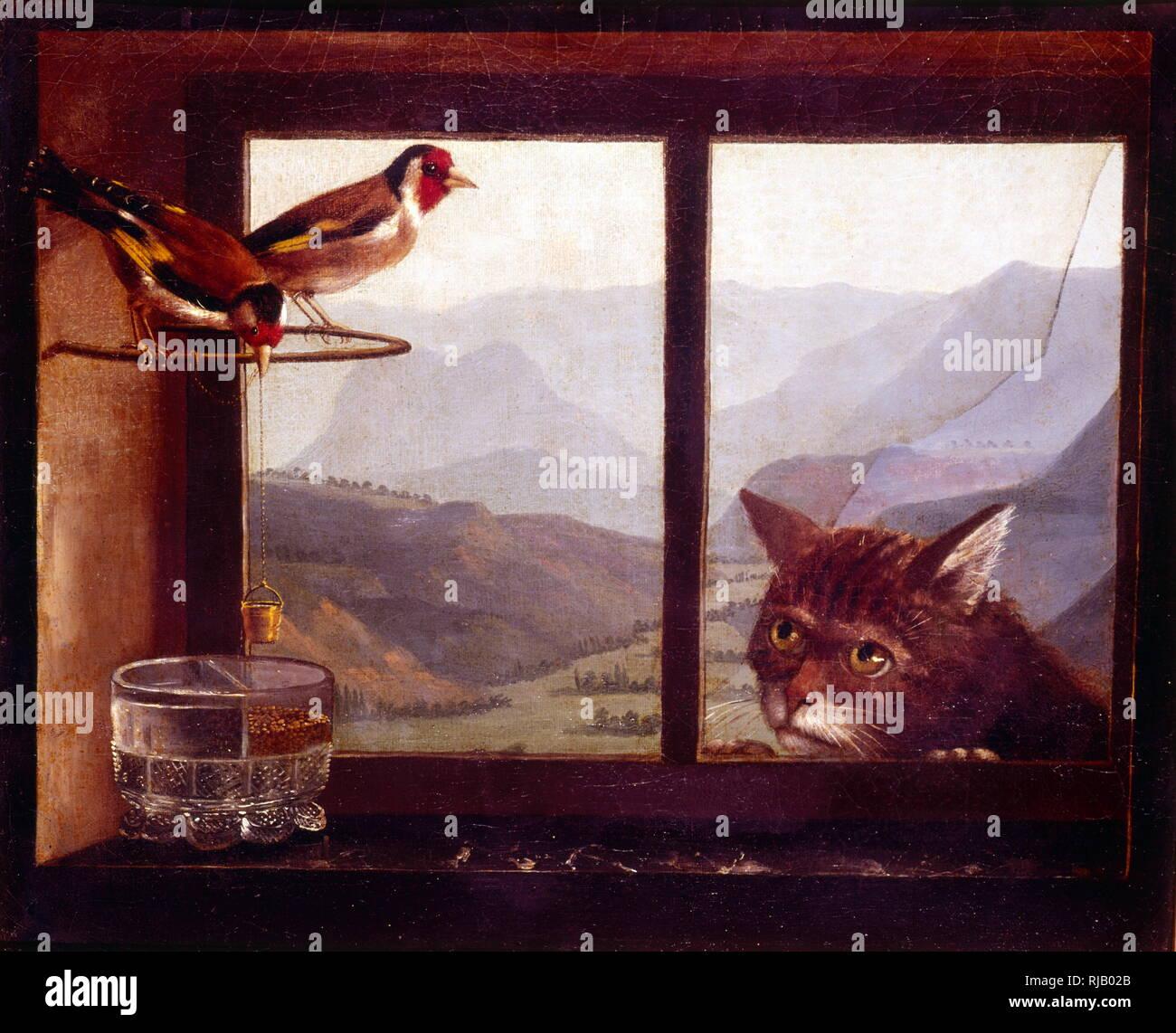 Le Chat Et Le Chardonneret 19e Siecle La Peinture A L Huile Musee Des Beaux Arts