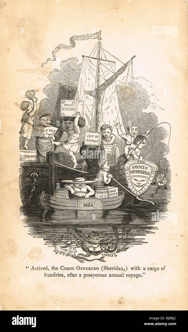 Frontispice de la bande dessinée à l'épargne, ou Ladies' mélange de gaieté littéraire de 1834 Photo Stock