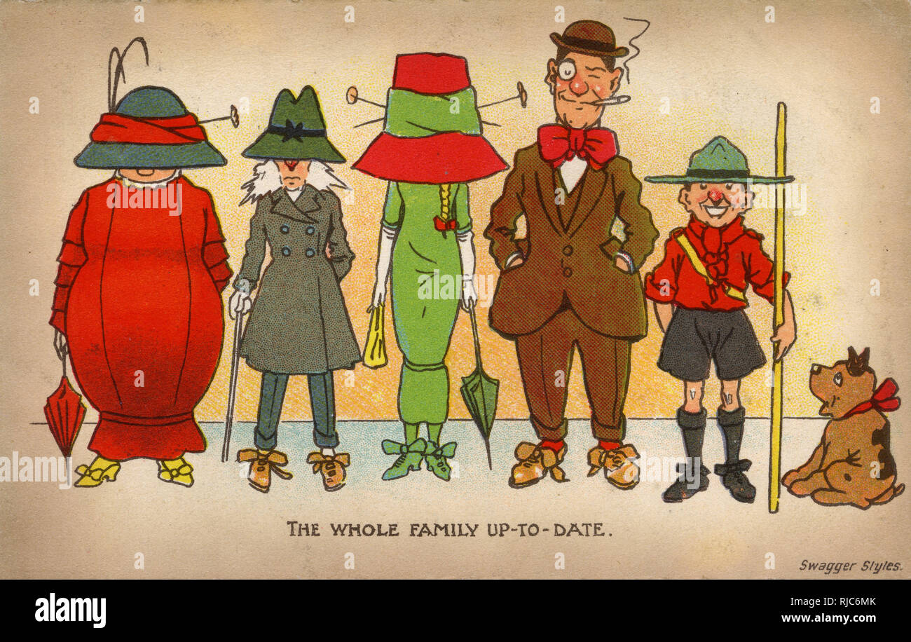 Toute la famille et à jour sur wagger' - 'SStyle. Carte postale bd - satire sur le penchant pour les femmes de porter des chapeaux de grandes et enveloppant durng de cette période. Photo Stock
