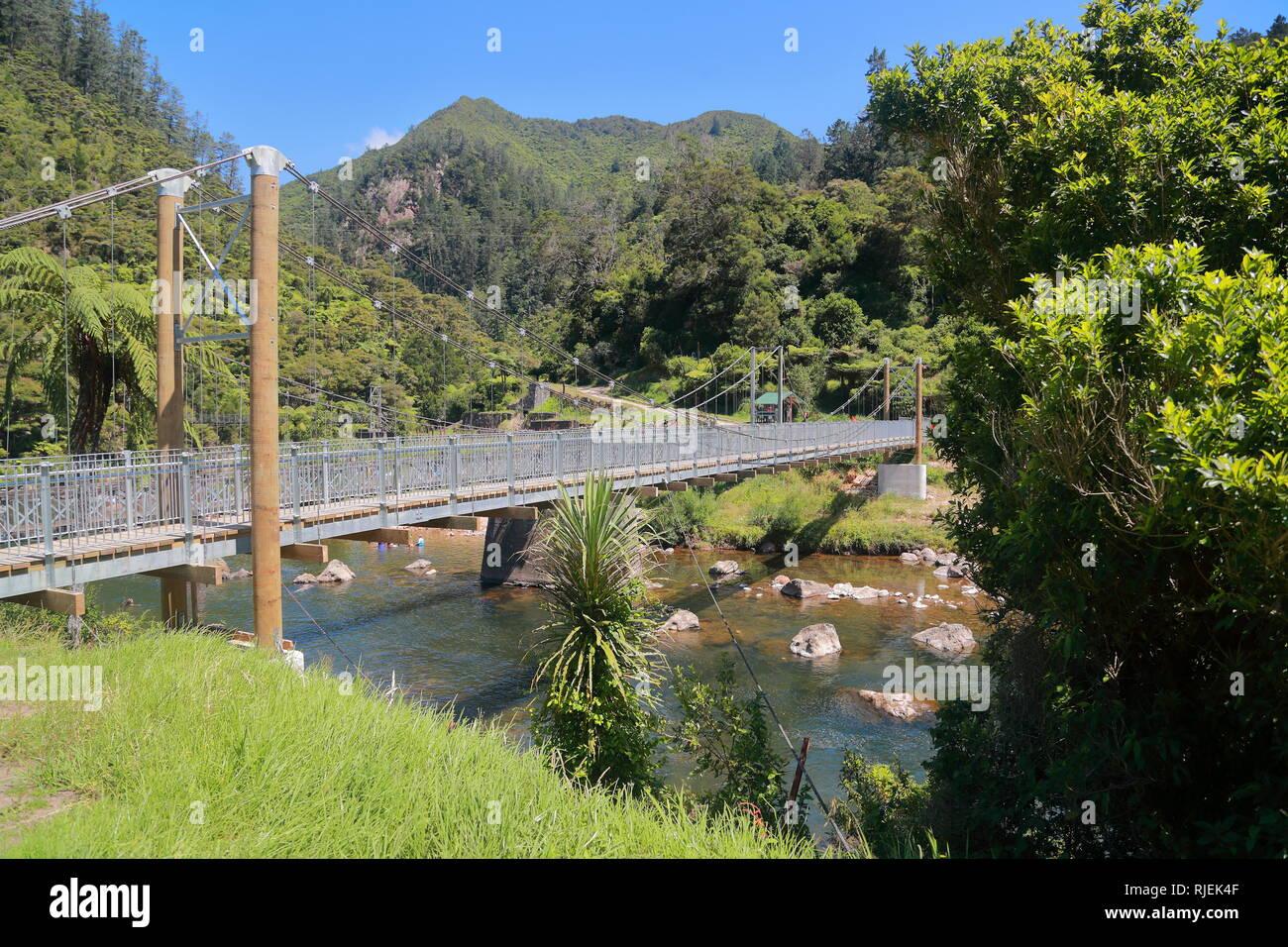 Le pont suspendu à Karangahake, Nouvelle-Zélande Photo Stock