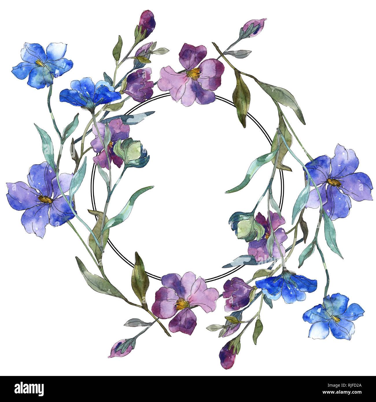 Violet Bleu floral fleur de lin botanique. Lame de ressort ...