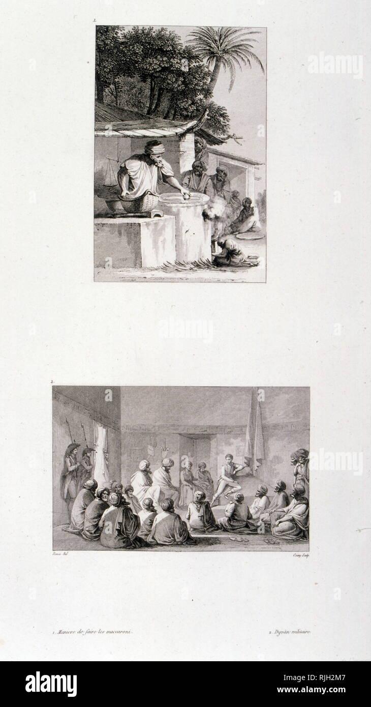 Dessins de l'Égypte, par Dominique Vivant, Baron Denon (1747 - 1825), artiste français, écrivain, diplomate, auteur, et d'archéologue. Il a été nommé le premier directeur du musée du Louvre par Napoléon après la campagne d'Égypte de 1798-1801 Banque D'Images