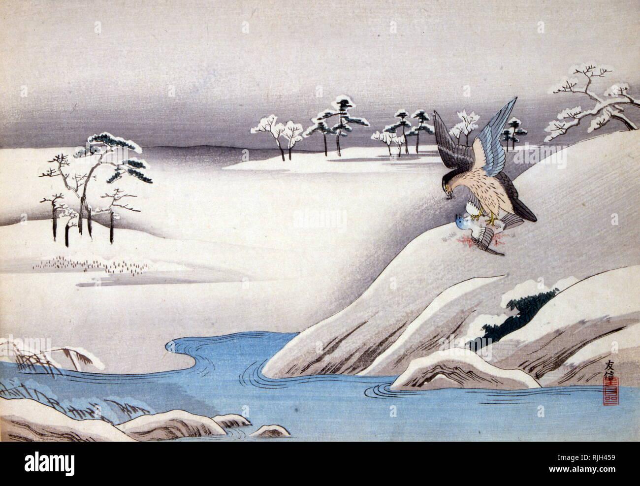 Illustration japonaise d'une fable de Jean-Pierre Claris de Florian (1755 - 1794), poète et écrivain romantique Banque D'Images