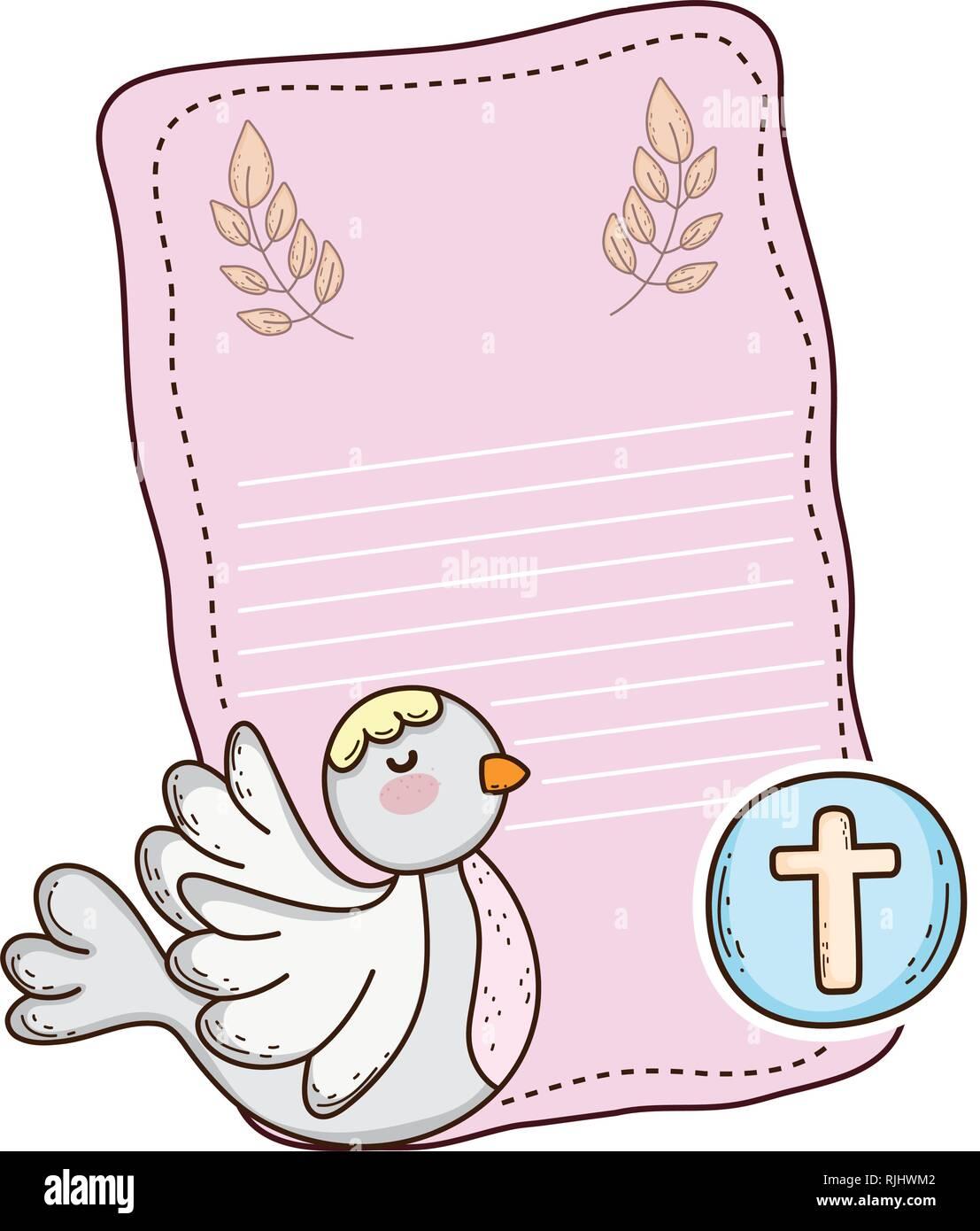 Oiseau colombe cute icône religieuse Photo Stock