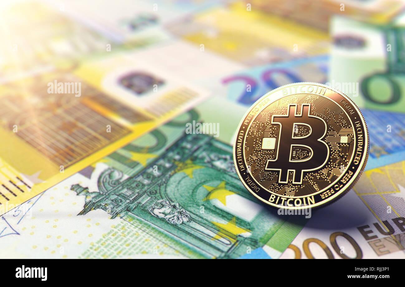 Coin Bitcoin sur Euro bills. Situation de l'Europe unie en Bitcoin concept. Le rendu 3D Banque D'Images
