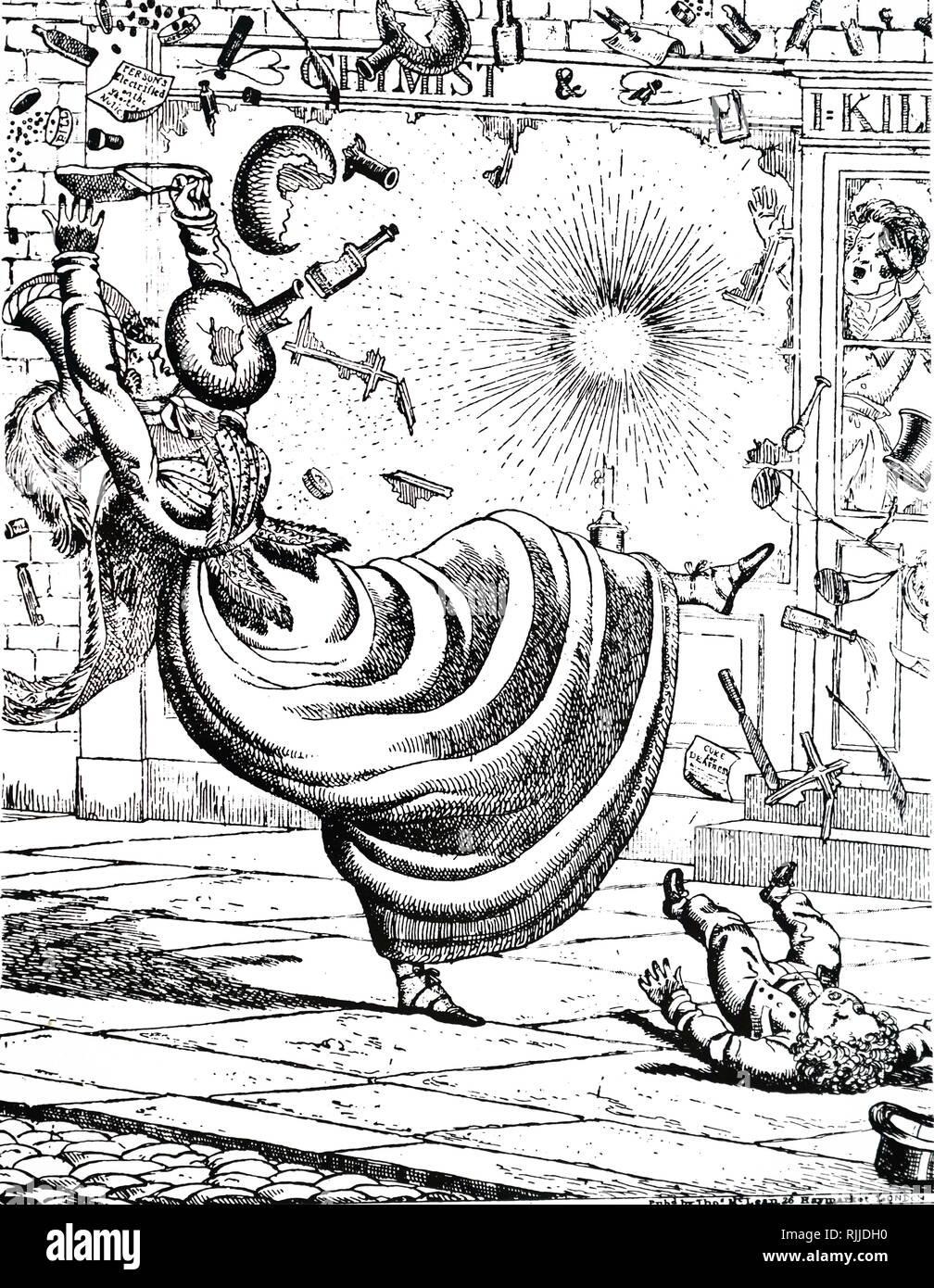 Une caricature des commentaires sur les avantages du gaz d'éclairage au-dessus de l'huile. Illustré par Richard Dighton (1795-1880) un artiste anglais dans la période de régence. En date du 19e siècle Photo Stock