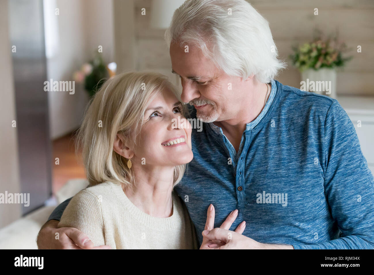 Close up of middle aged couple in love Photo Stock