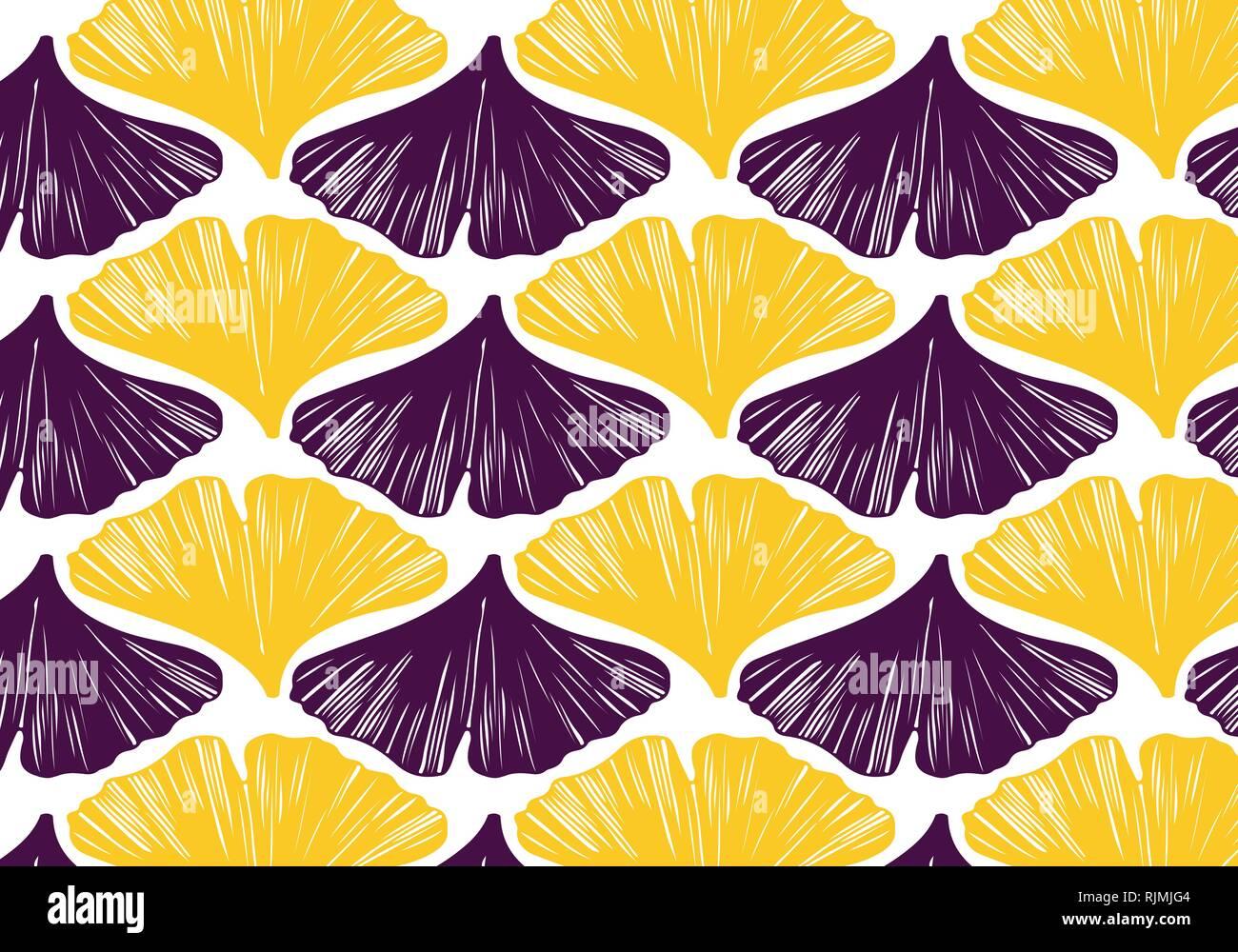Feuilles De Ginkgo En Modèle Vectoriel Palette Couleurs Jaune Et