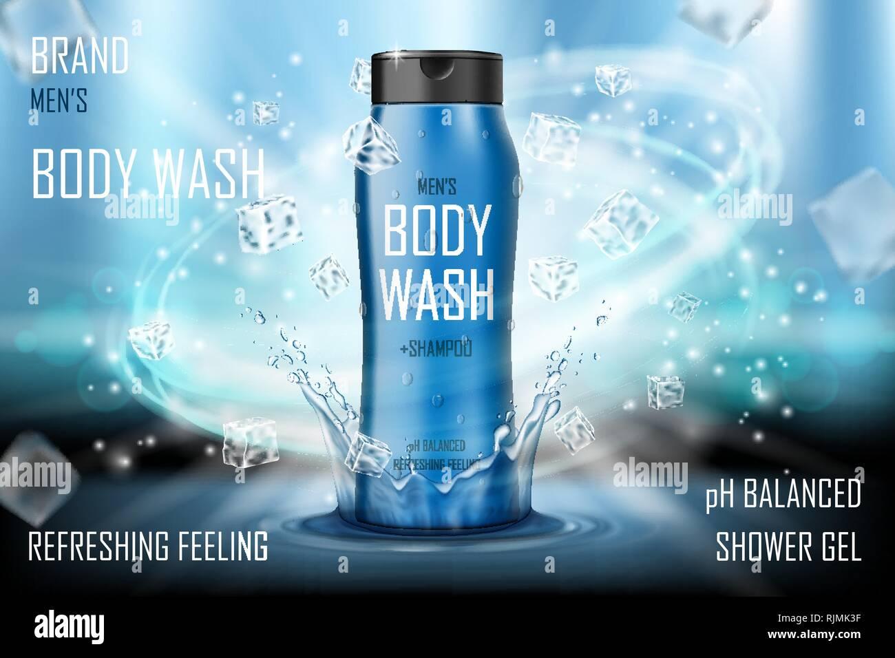 Les hommes de refroidissement s body wash gel avec des projections d'eau et des cubes de glace. Le corps réaliste annonce pour poster. Les hommes soins s de la conception des produits. 3D de vecteur Photo Stock