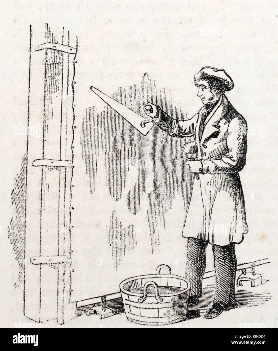 Illustration de la peinture à la truelle sous couche sur une serpillière 1842 Photo Stock