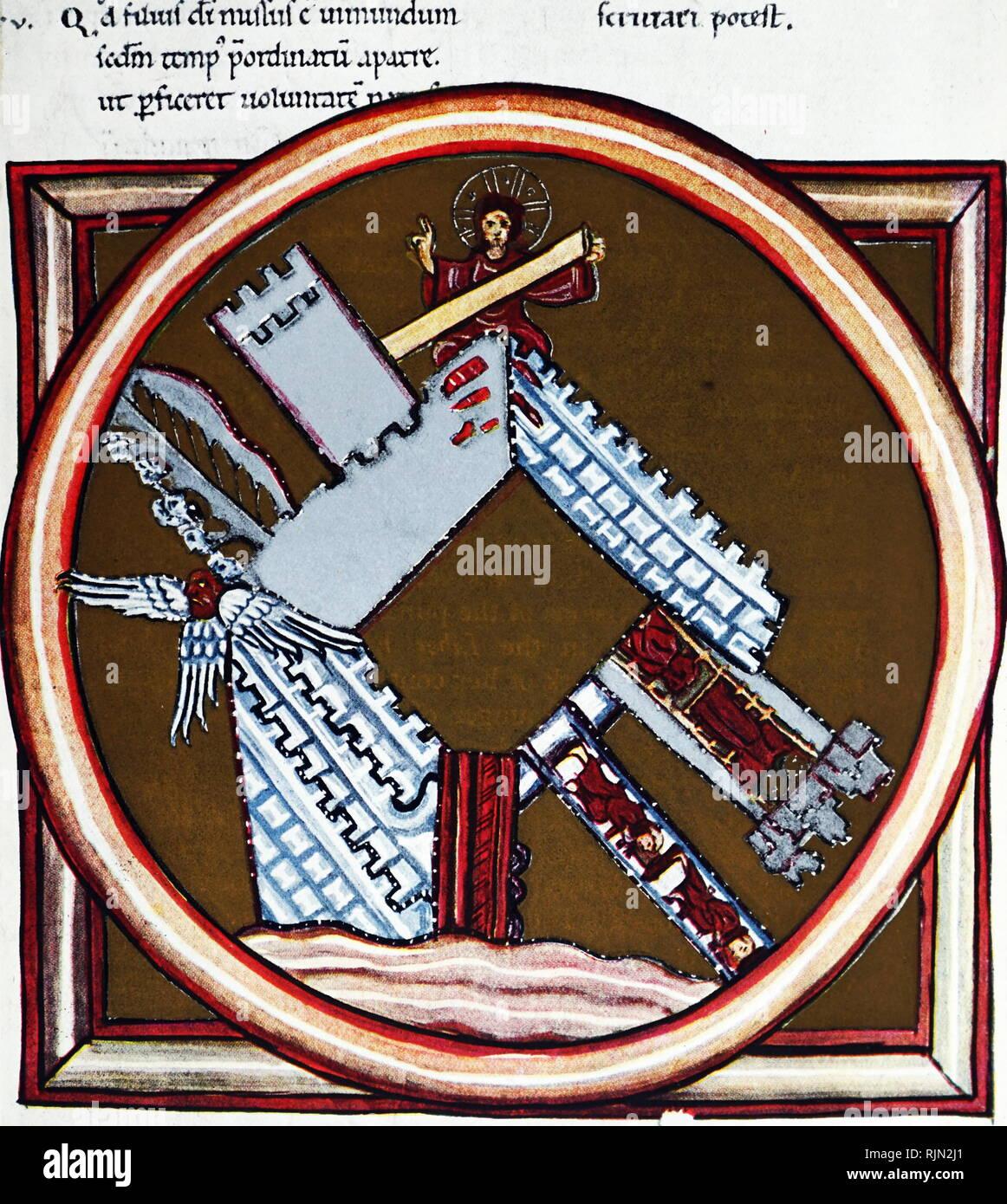 Illustration montrant ' ' ' DE VISION RECONSTRUIT LA VILLE CÉLESTE ' à partir d'un MS. de Hildegard's 'Scivias' à Wiesbaden, écrit à Bingen sur 1180. ' Photo Stock