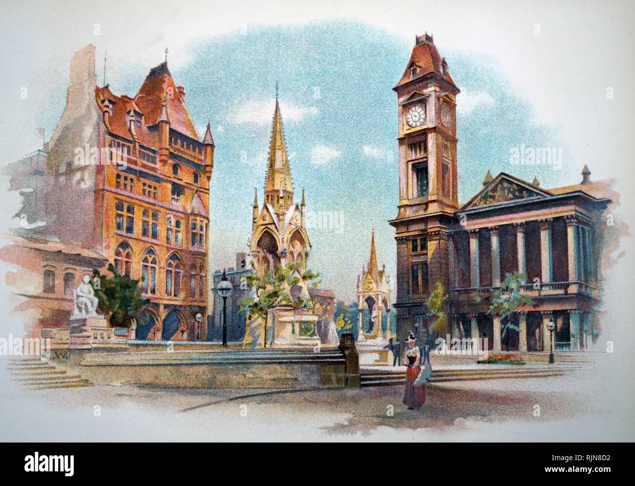 Une gravure représentant un Chamberlain Square, Birmingham, montrant l'école secondaire pour filles, le Chamberlain Memorial, et la Galerie d'Art (à gauche). En date du 19e siècle Banque D'Images