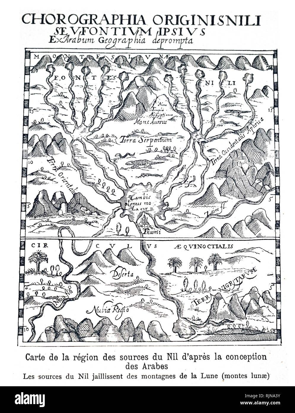 Une gravure sur bois représentant la carte de la sources du Nil basé sur la cartographie arabe. En date du 16e siècle Photo Stock