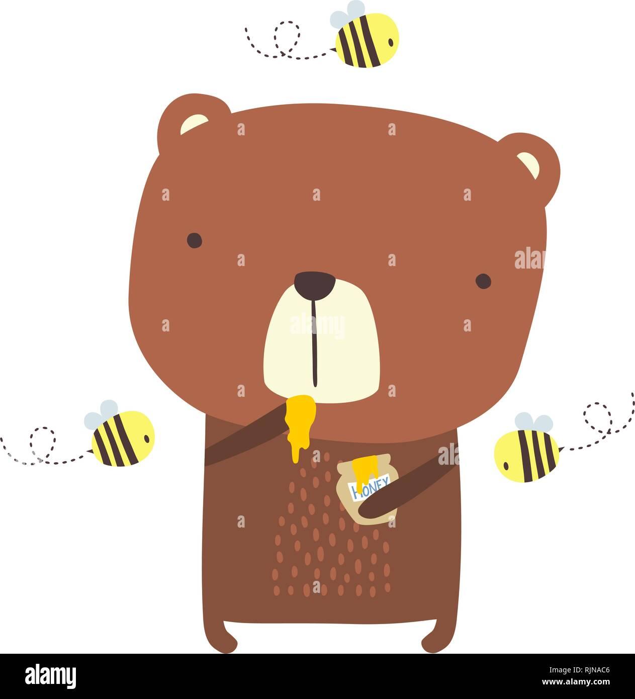 Cute Bear avec du miel et des abeilles jar sur isolé sur fond blanc. design pour bébé et chindren. hand drawn style. peut être utilisé pour la décoration de jardin, Illustration de Vecteur