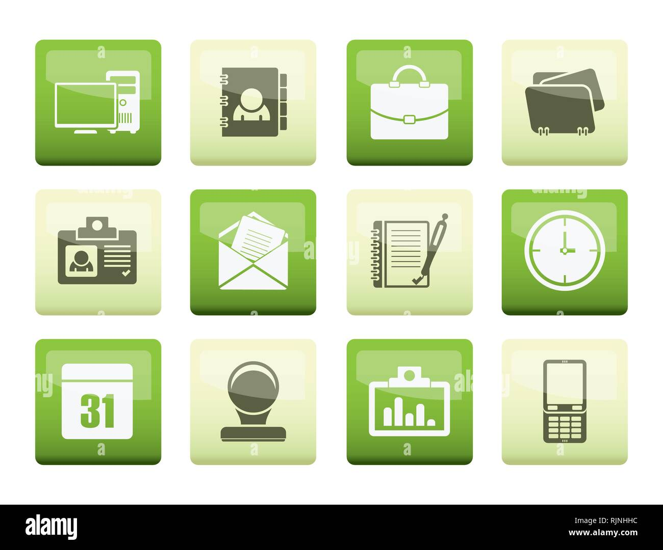 Les applications Web d'entreprise et de bureau, icônes, icônes universelles sur fond couleur - vector icon set Photo Stock