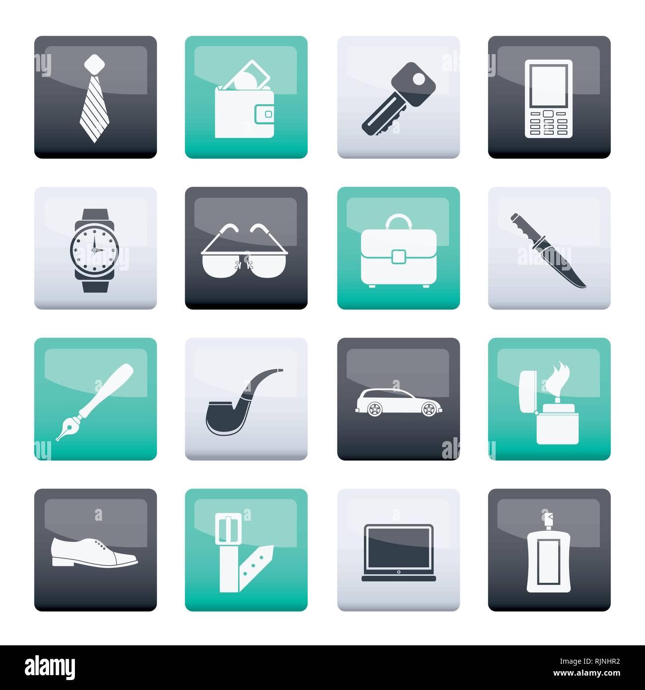 Accessoires Homme les icônes et les symboles de la couleur arrière-plan- vector illustration Photo Stock