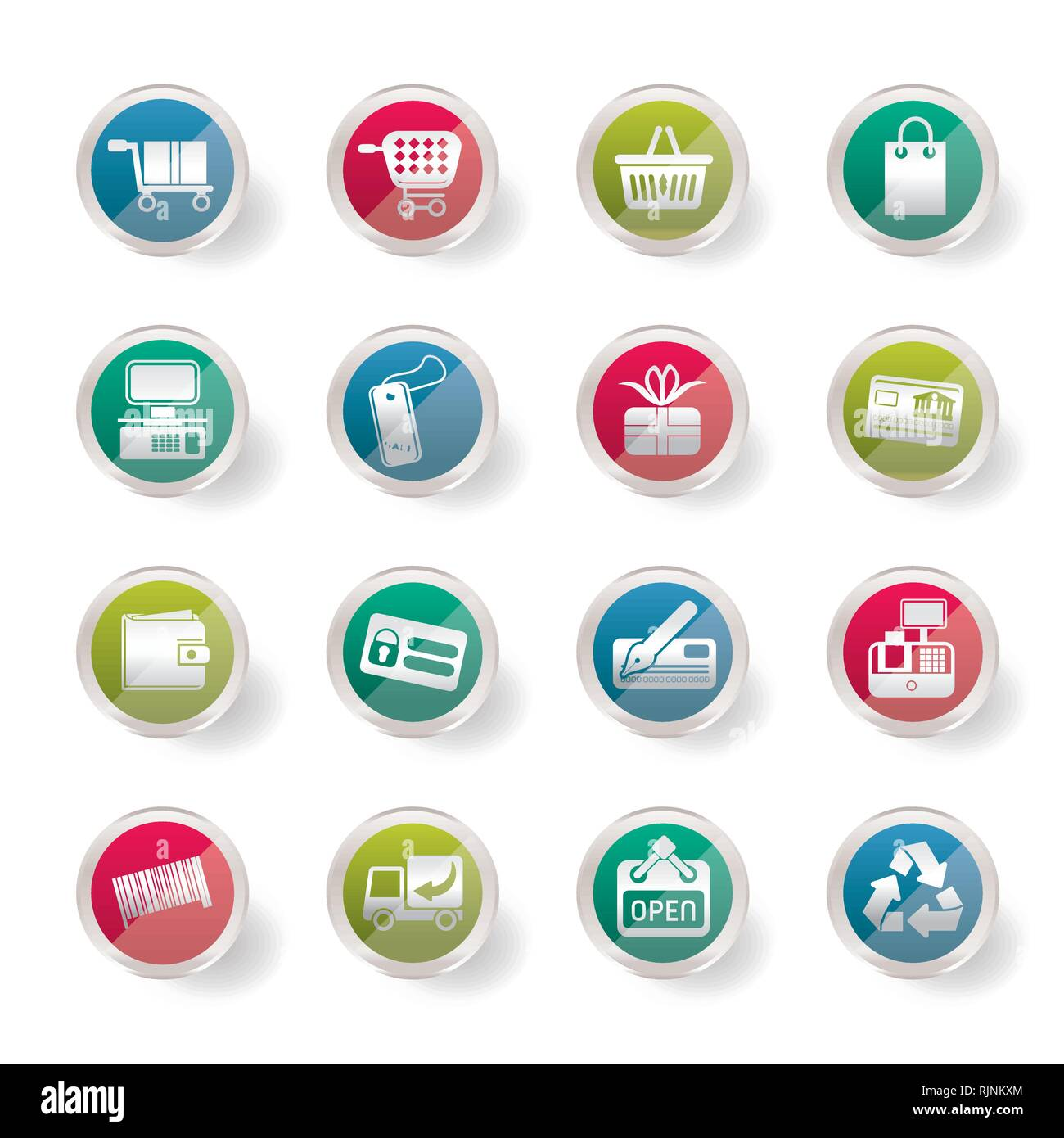 Boutique en ligne Simple stylisé sur fond de couleur des icônes - Vector Icon Set Photo Stock