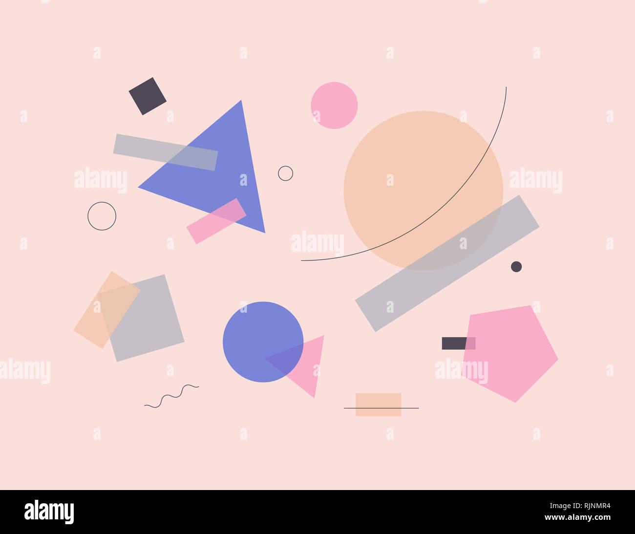 Style design Bauhaus art de la composition. Abstract illustration avec des formes géométriques simples et minimalistes. Photo Stock